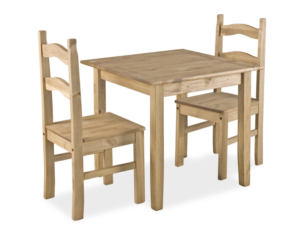 Solid Pine Mexican Dining Table with 2 Chairs - Set