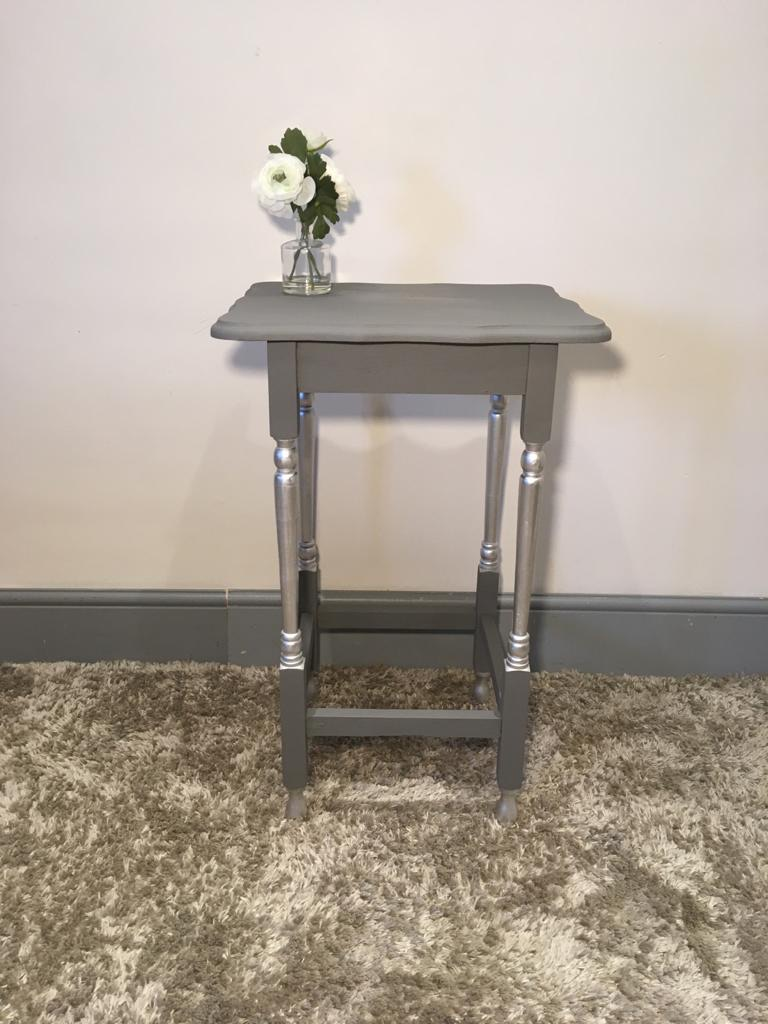 Tall grey & silver lamp/side table