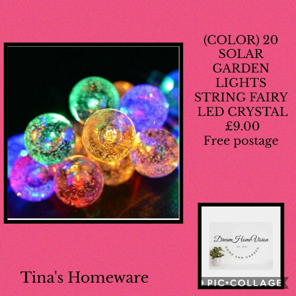 (COLOR) 20 SOLAR GARDEN LIGHTS STRING FAIRY LED CRYSTAL