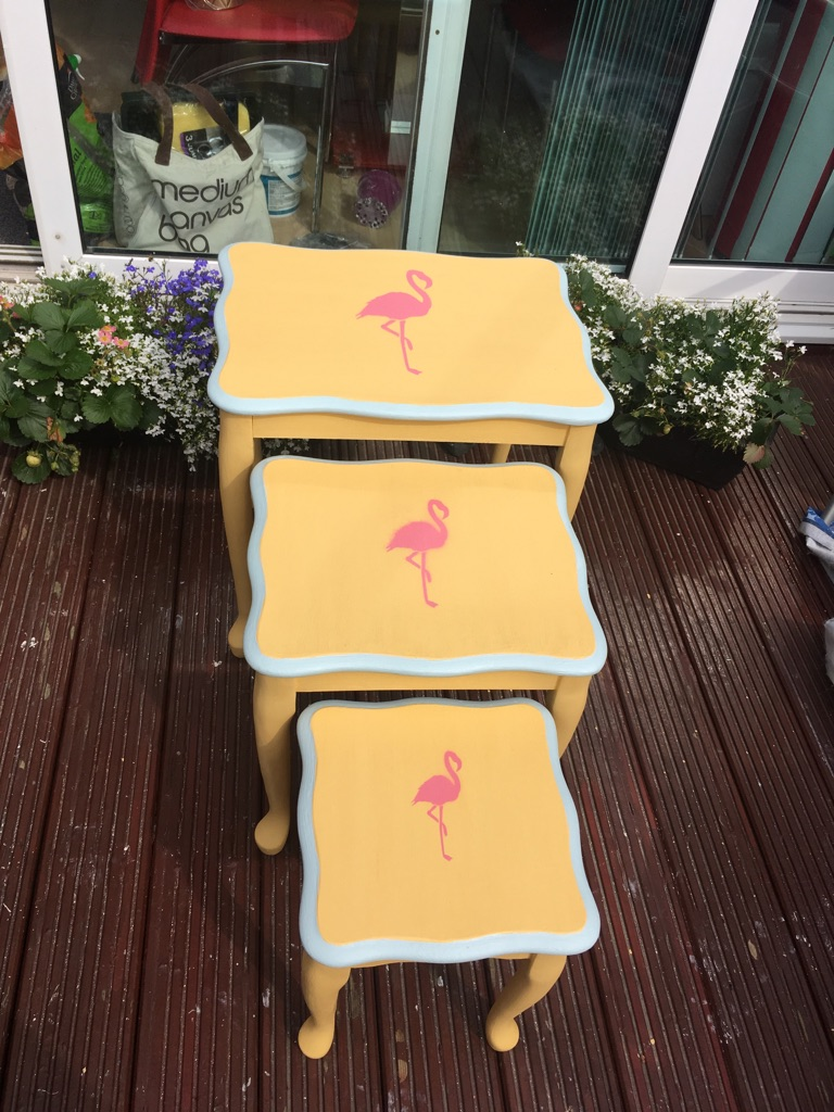 Upcycled flamingo nest of tables