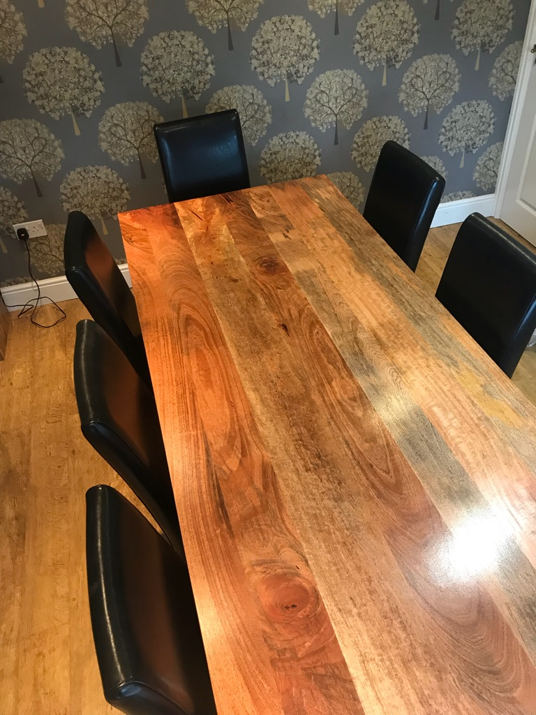 Solid oak dining table & 8 leather chairs