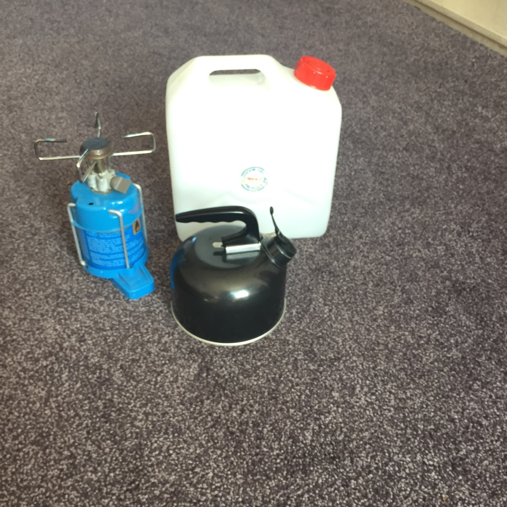 Camping Gaz stove,camping kettle and water carrier