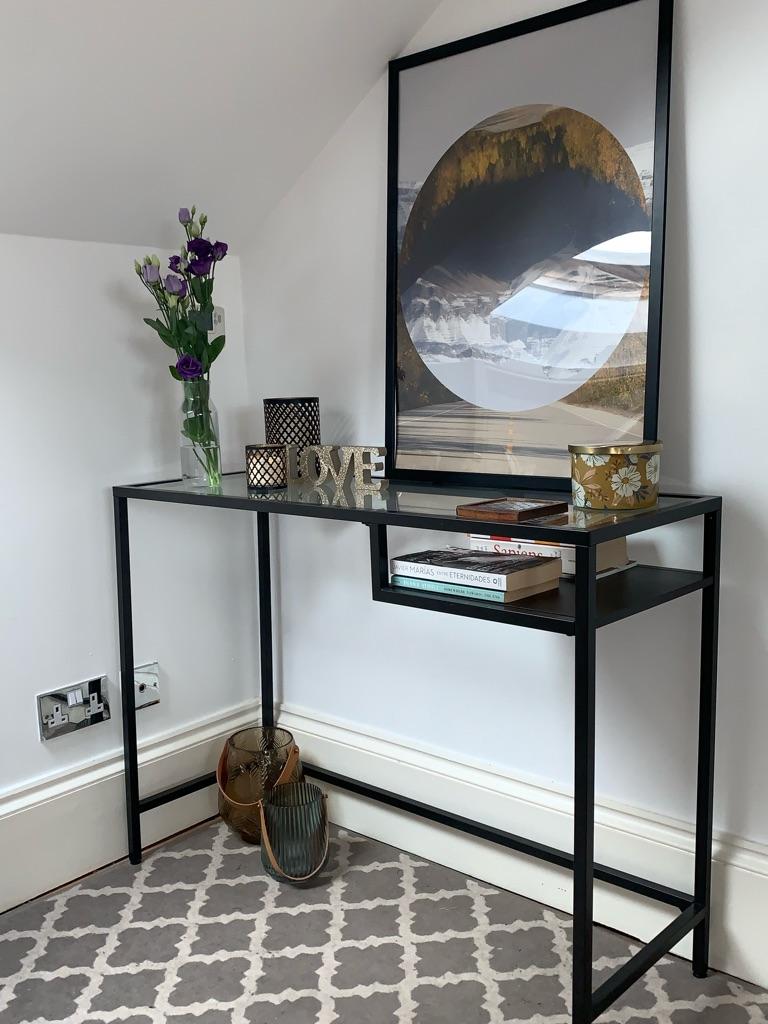 IKEA console table, rug, print (£40)