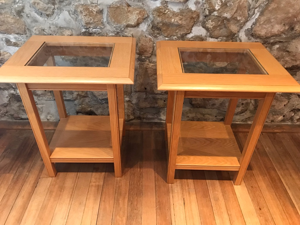 Pair of M&S small rectangular oak & glass side tables