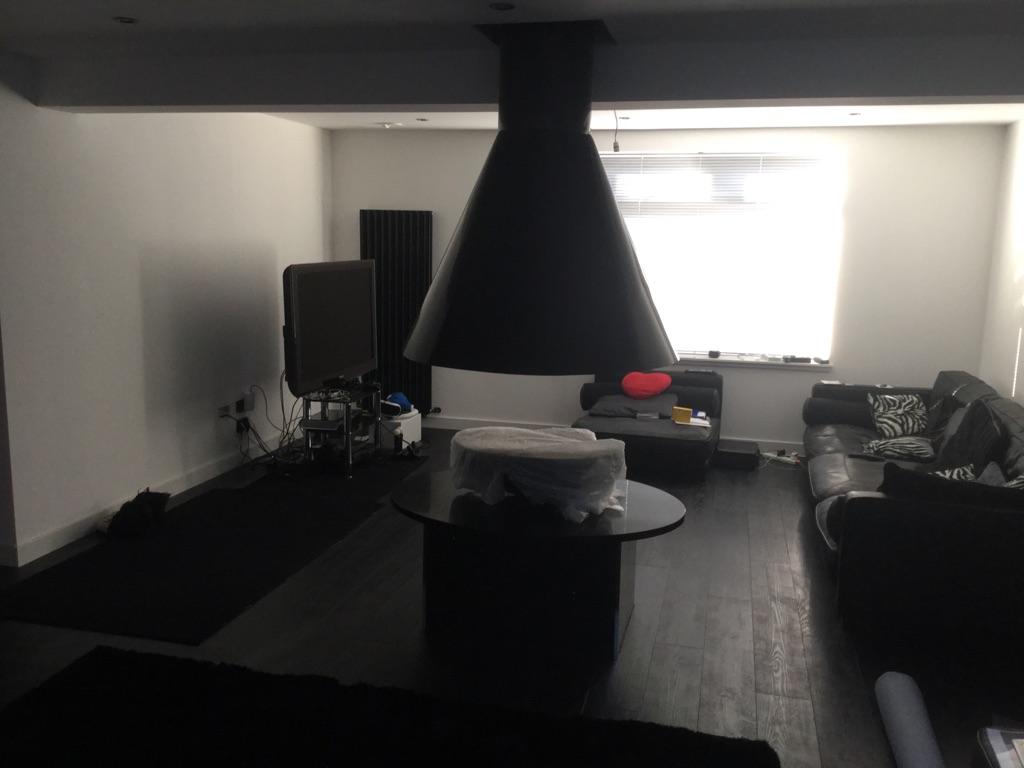 CVO Black Stone Large Oval 12kw Gas Fire Bowl-Black Quartz Table Top-Black Canopy & Flue Components