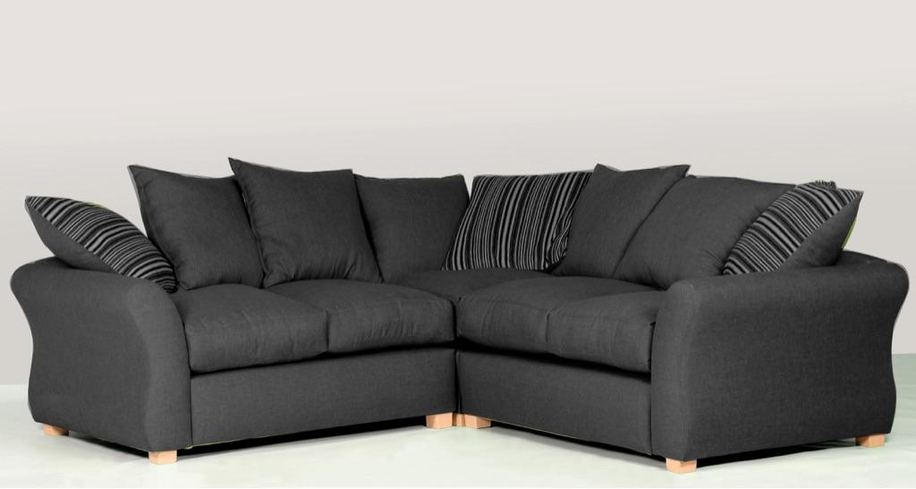 Sarah Fabric Corner Sofa - Black, Beige, Pink or Green