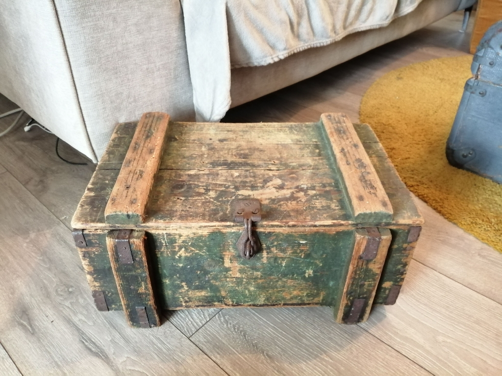 Wooden Chest trunk container shabby chic