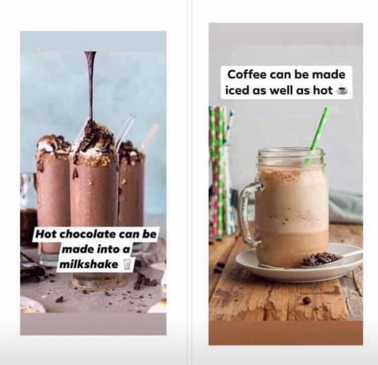 Iced coffee and chocolate shake
