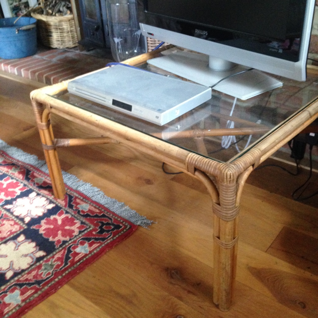 Cane Coffee / Tv Table With Glass Top
