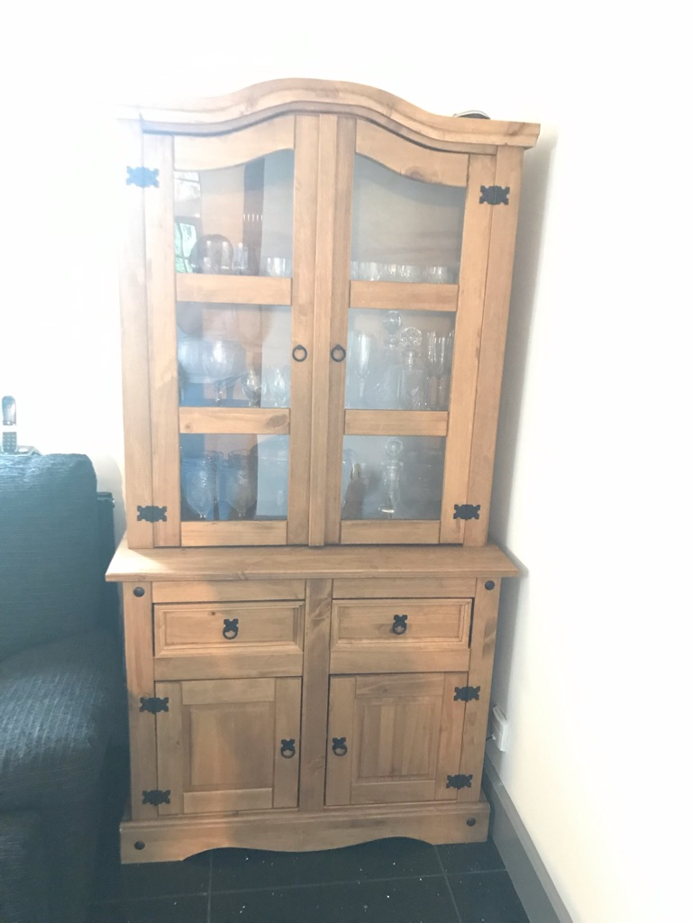 Beautiful wooden display cabinet and storage drawers and cupboard.