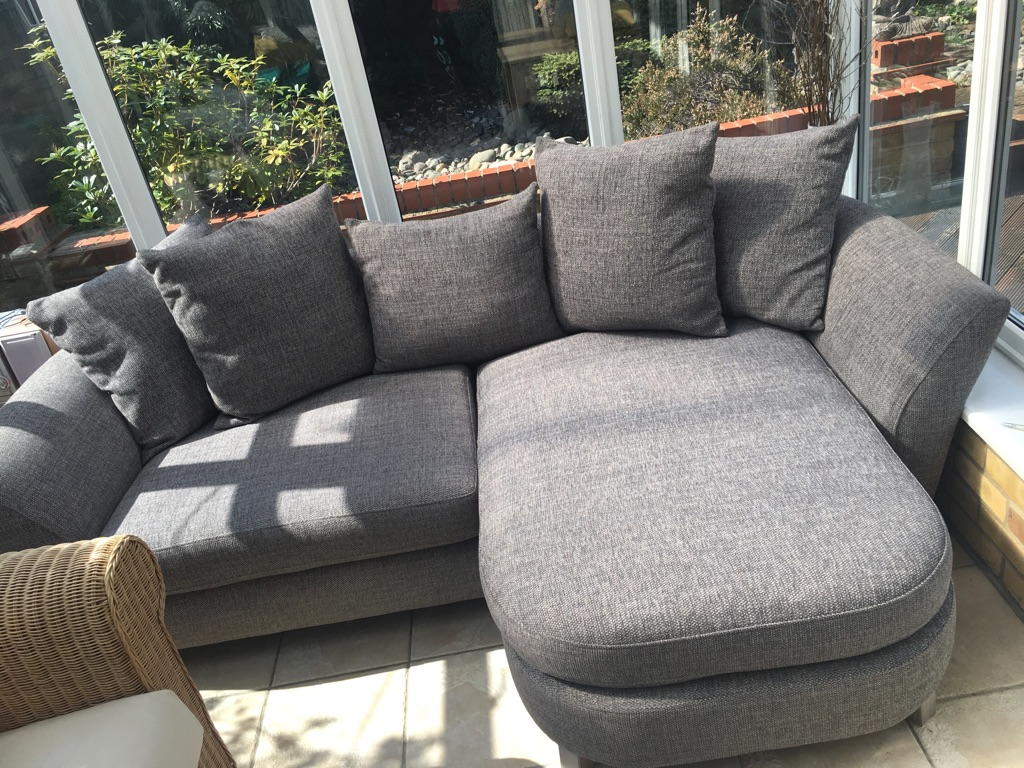 Grey Lounger Sofa & Matching Footstool