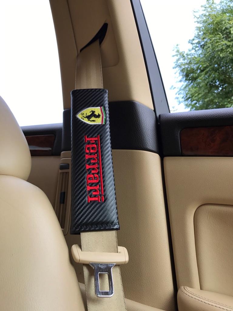 2X Seat Belt Pads Carbon Gift Ferrari 458 488 512 550 599 612 F430 348 360 California GT F12 Berlinetta