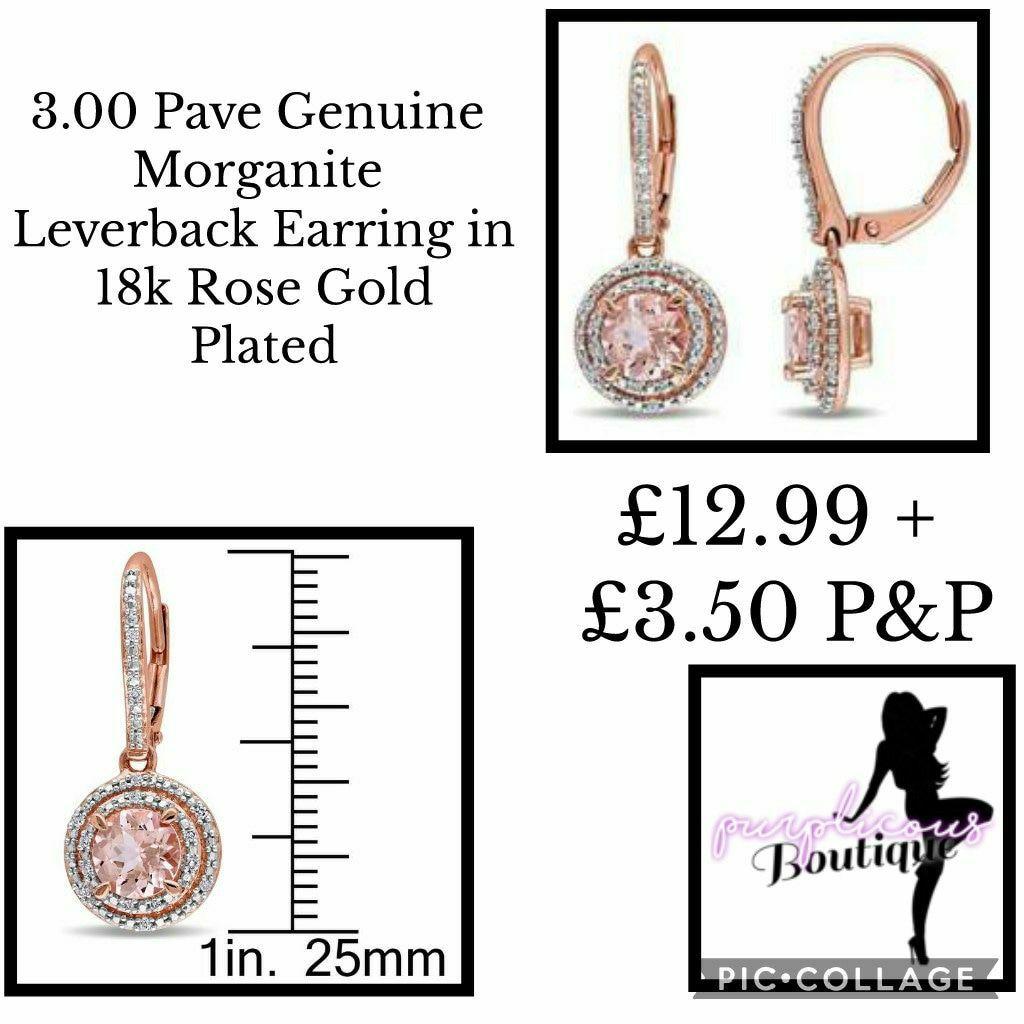 3.00 Pave Genuine Morganite Leverback Earringin 18k Rose Gold Plated
