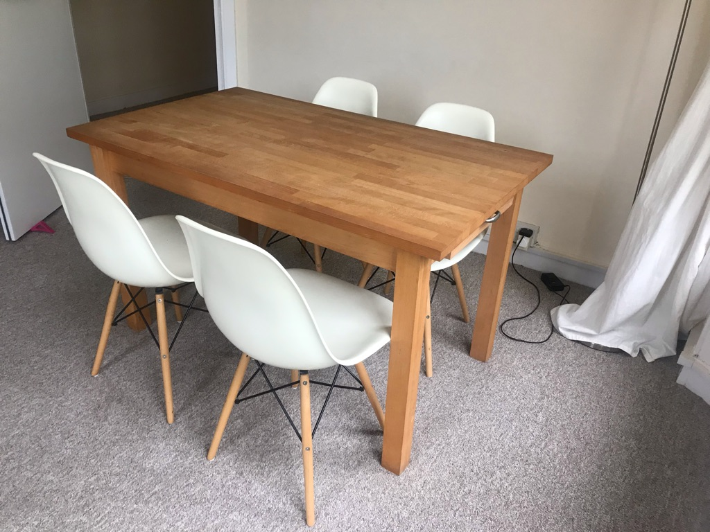 Habitat Wooden Table and 4 Eames Style Chairs