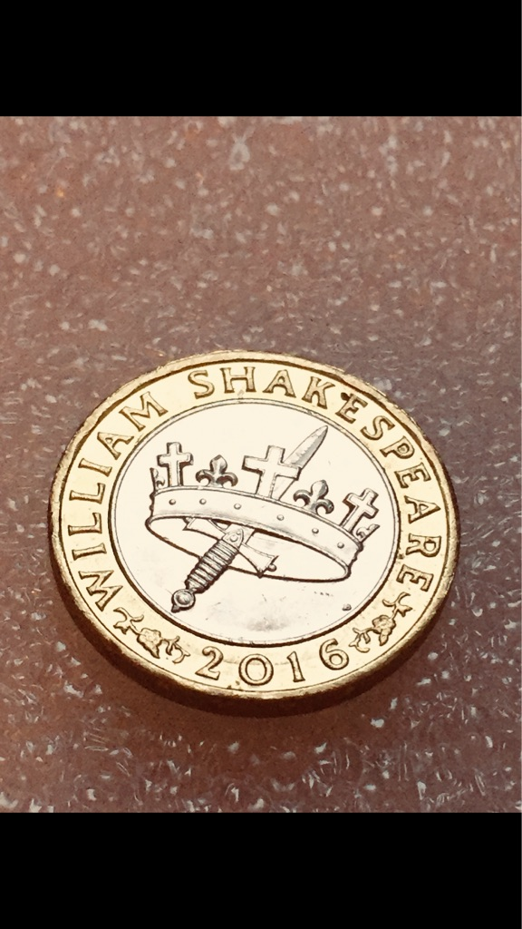 2 pound coin William Shakespeare 2016.