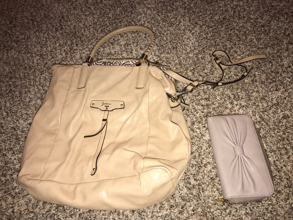 Large Tan Guess Purse with wallet