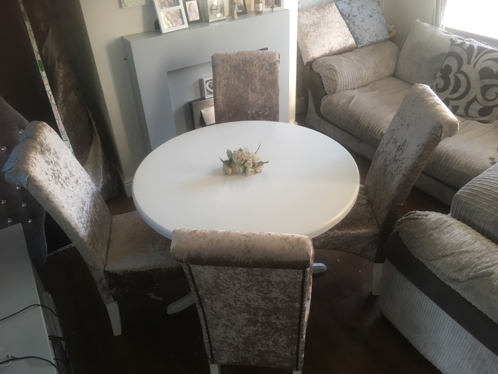 Crushed velvet truffle dining set