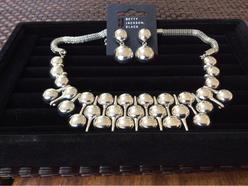 Betty Jackson Black Necklace and Earring Set