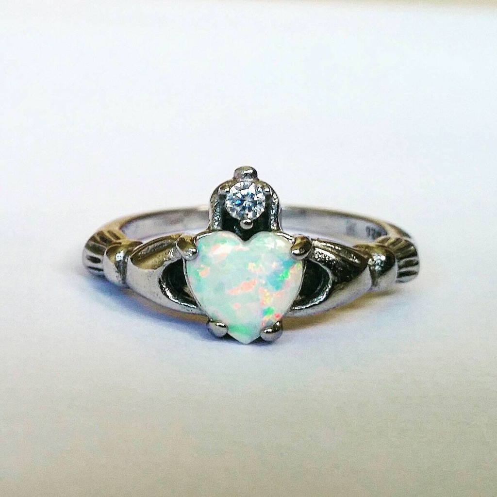 Fire opal heart sterling silver plated ring