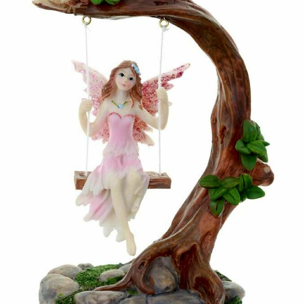 Flower Fairy On A Swing Figurine