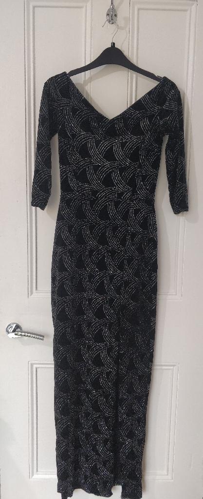 Black Velvet Glitter Bardot Maxi Dress