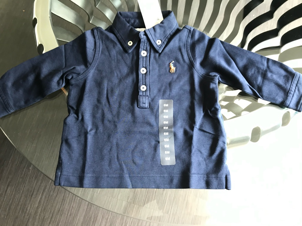RALPH LAUREN Silky Feel Pima Cotton Top in French Navy Size 9M RRP $49.50