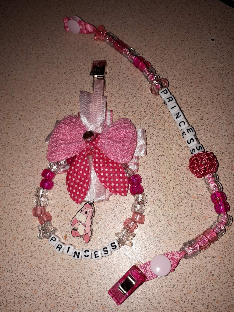 Pram charms with matching dummy clip