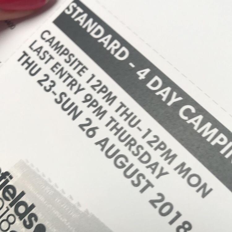 Standard 4 days Creamfields camping