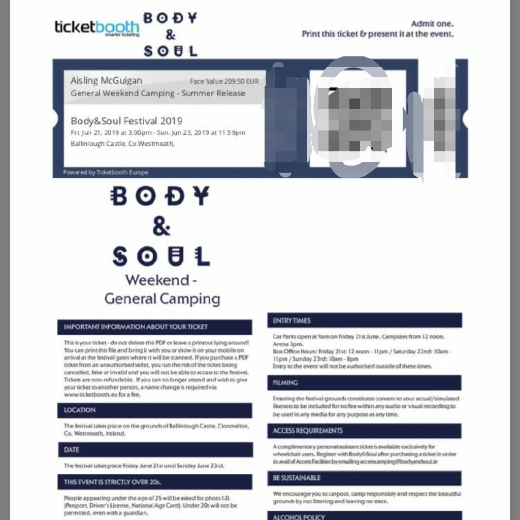 1 X Body & Soul weekend ticket