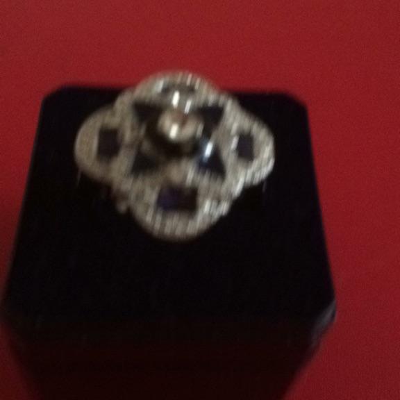 New 925 Silver Art Deco Sapphire
