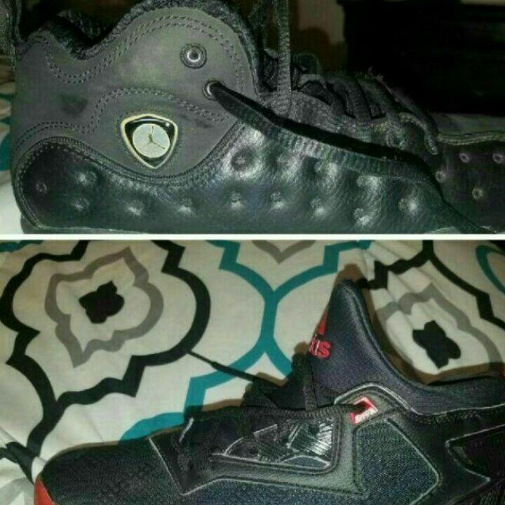 Red, black addidas size:6 Black Jordans size: 6.5