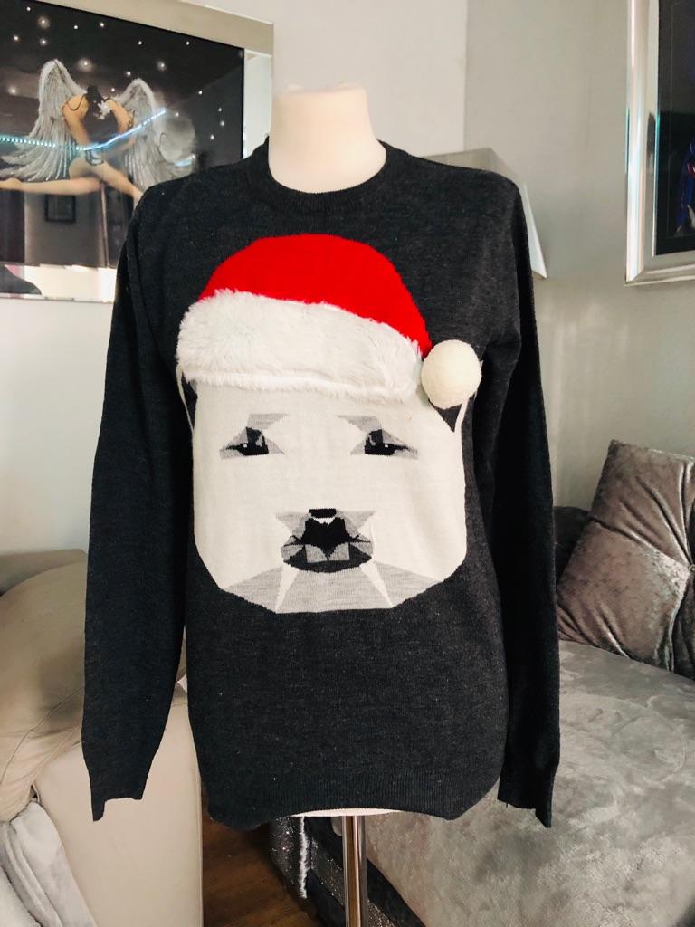 Women's grey Christmas jumper size S