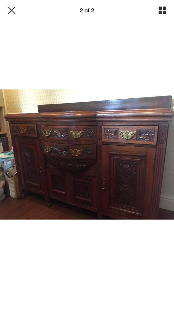 Antique dark wood dresser base