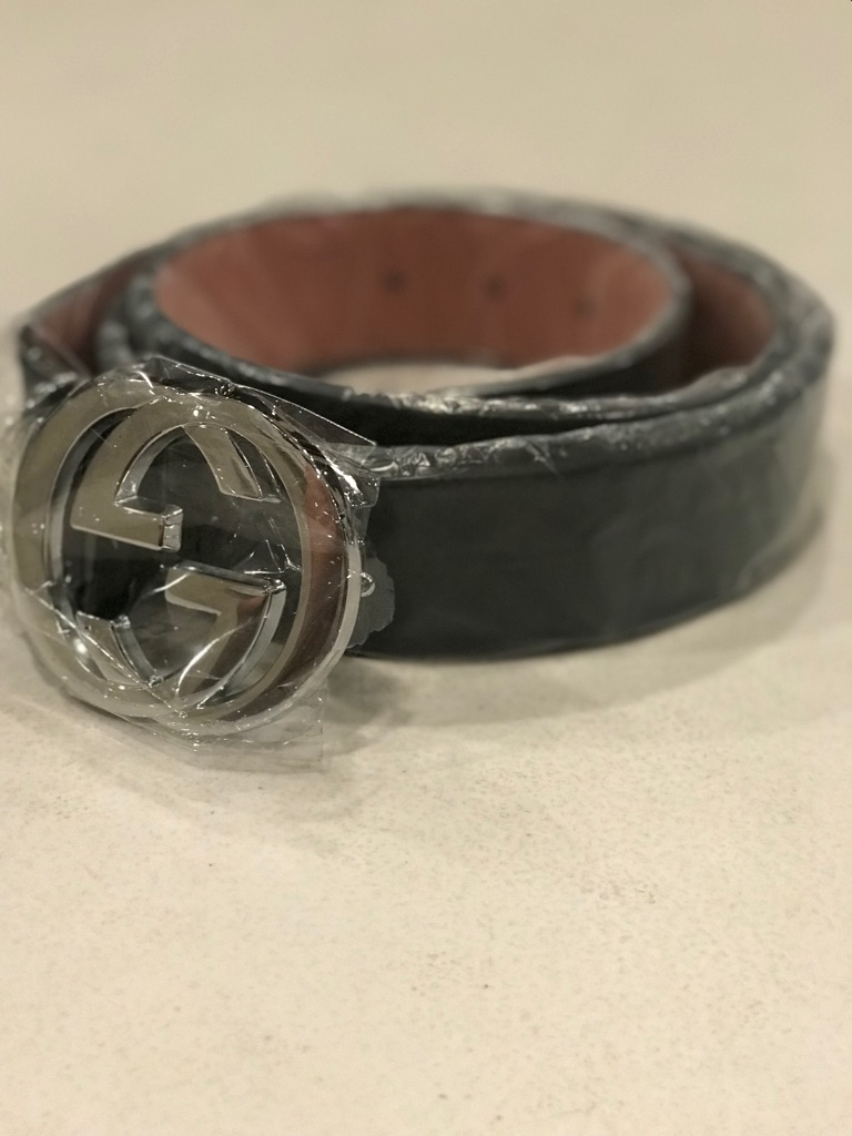 New Silver Black Gucci Belt