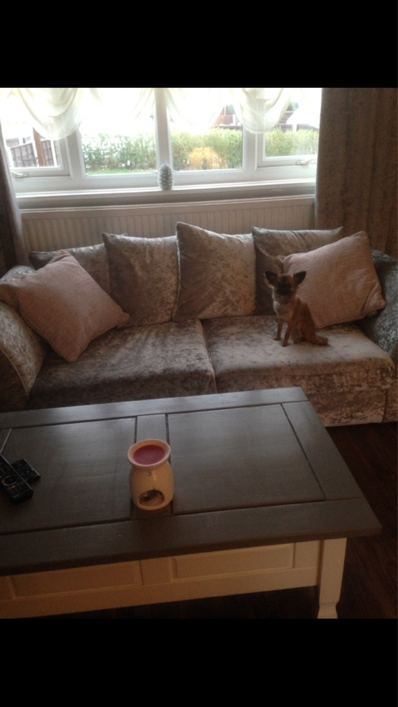 2/3 silver crushed velvet couches excellent condition