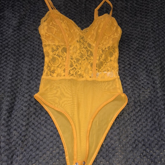 Mustard lace body suit