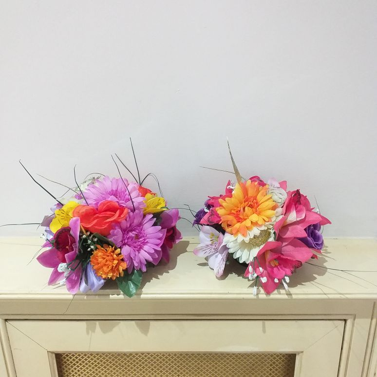 Two bright silk arrangements