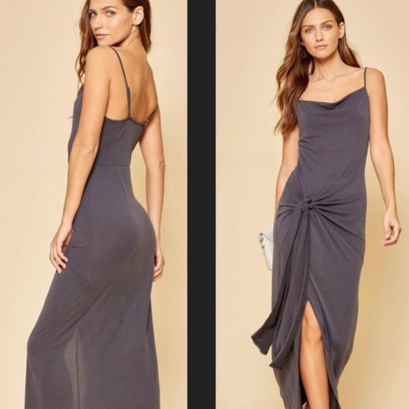 Front Knot Jersey Dress Size: Medium