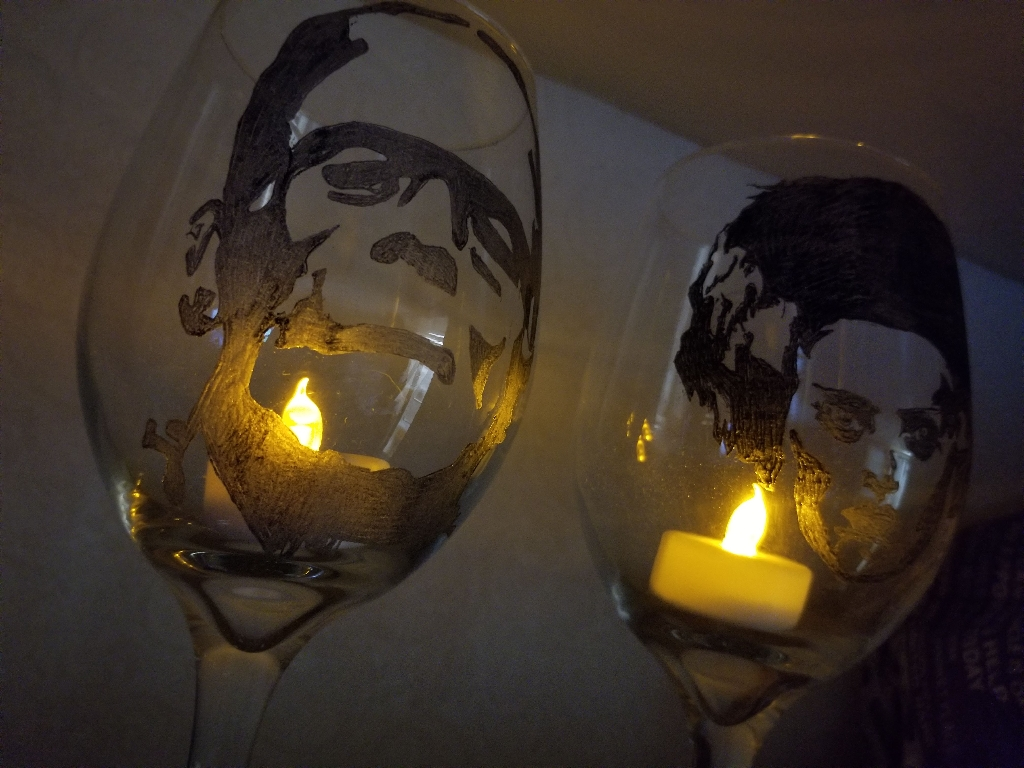 Frankenstein and Bride of Frankenstein hand etched flameless candle holders