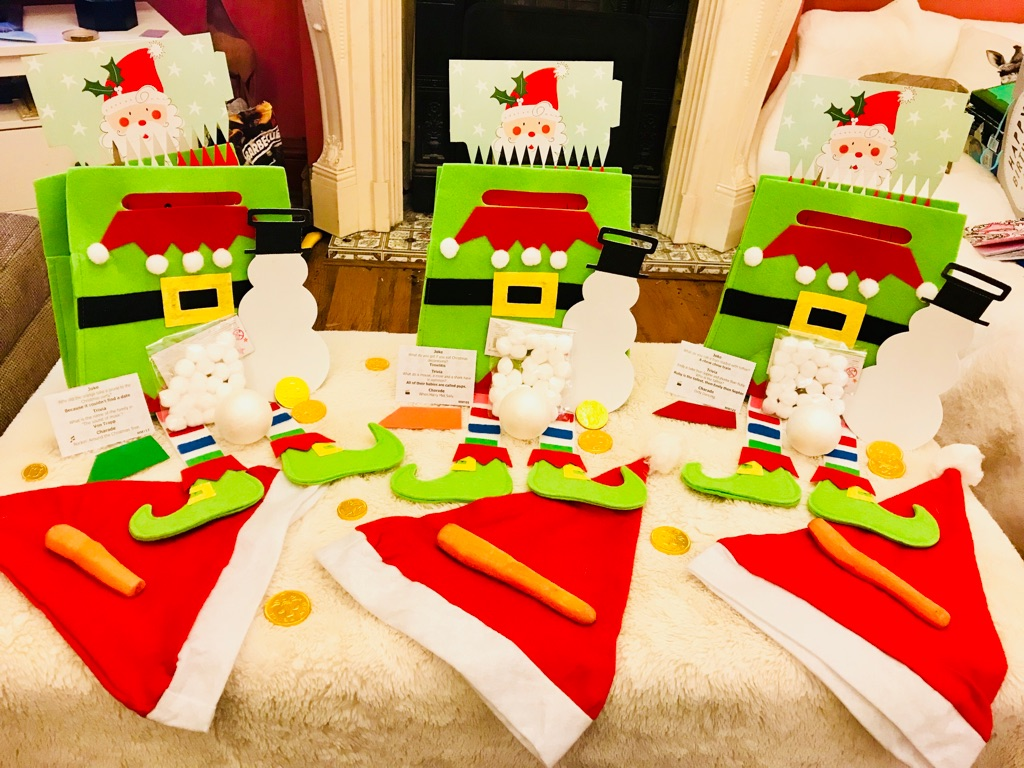 Luxury Xmas Eve Kids Bumper Activity Elf Bag with Santa is Sorted Kit