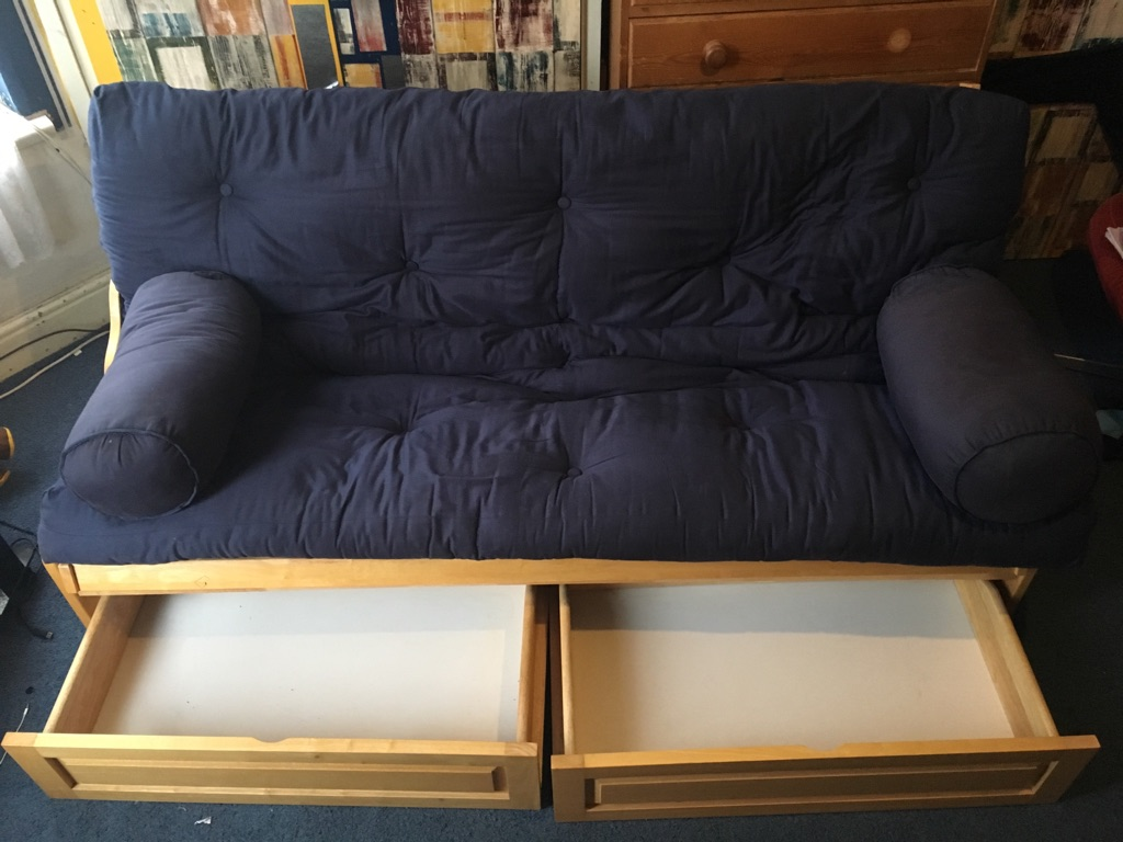Double bed sofa with drawls
