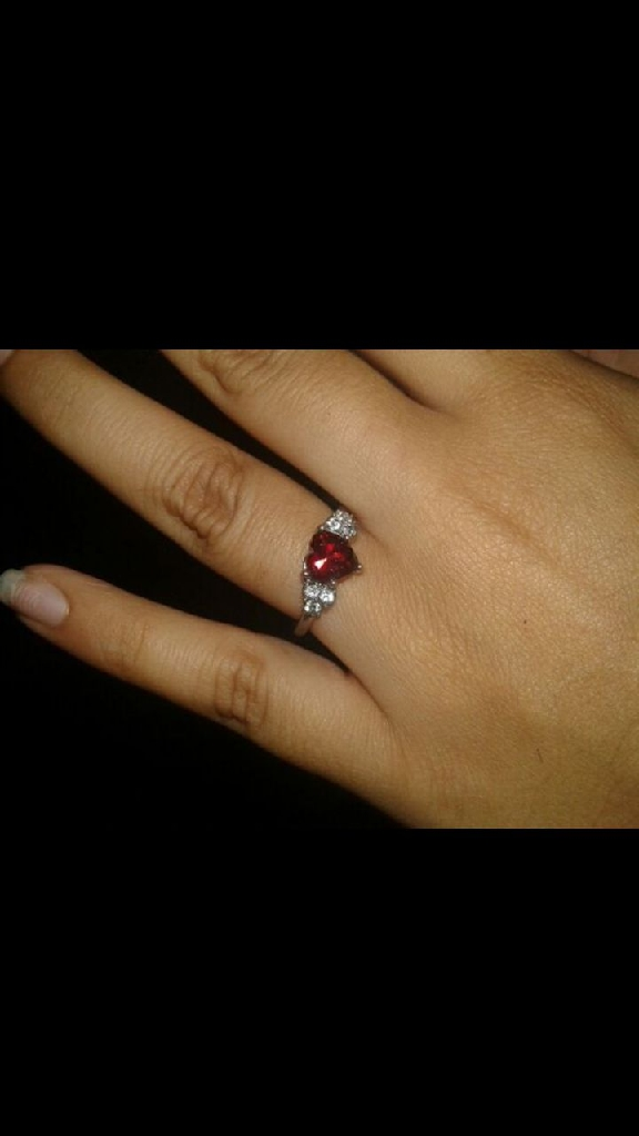 Red heart diamond ring