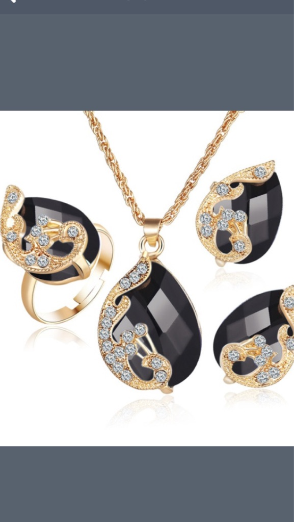 Fashion jewelry gold plated necklace set