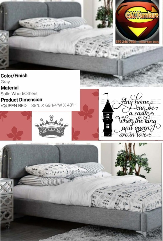 New Queen gray Fabric Bedframe with Padded headboard