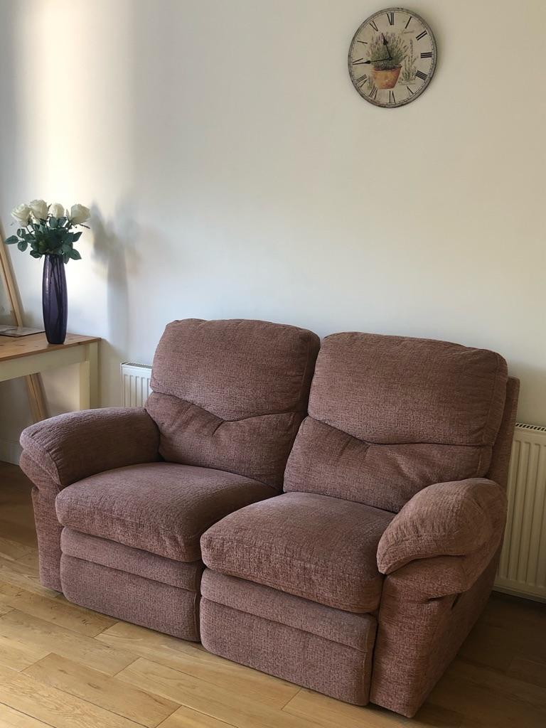 2 Seater Recliner Sofa in Rose Pink