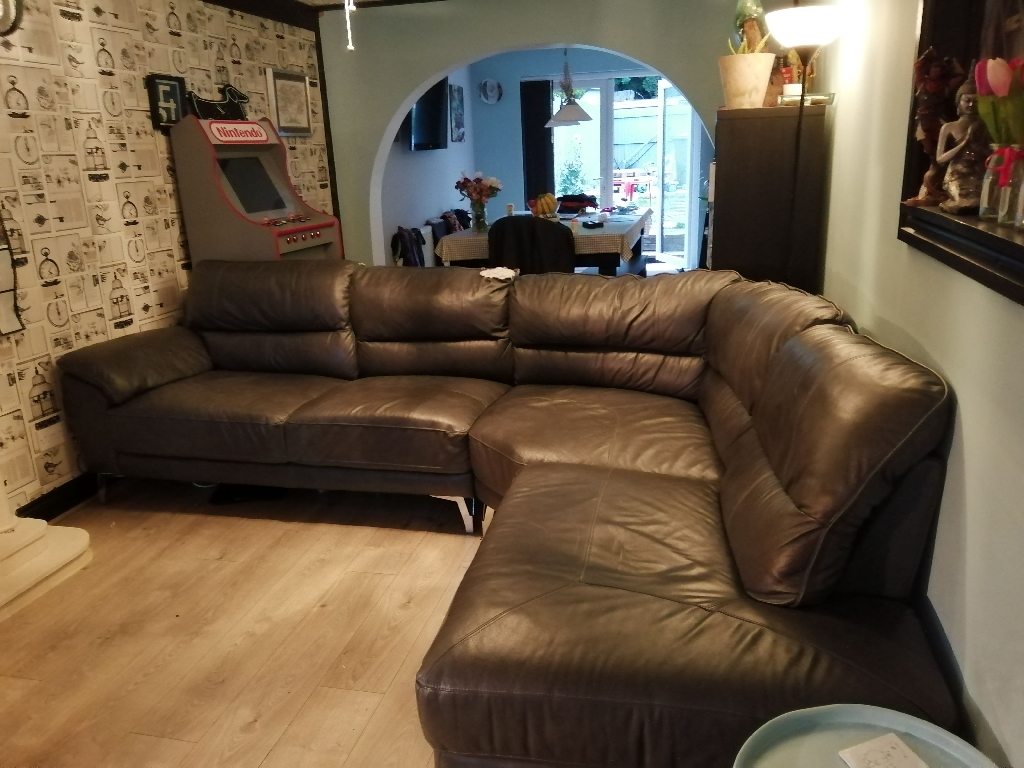 1 year old SCS leather corner settee