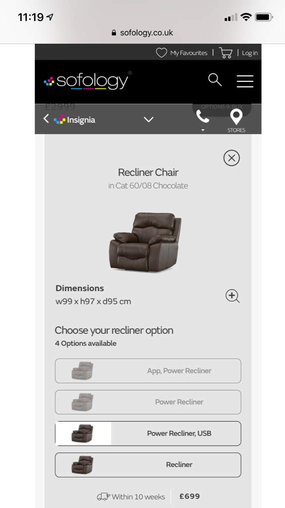Insignia Chocolate Manual Recliner by Sofology
