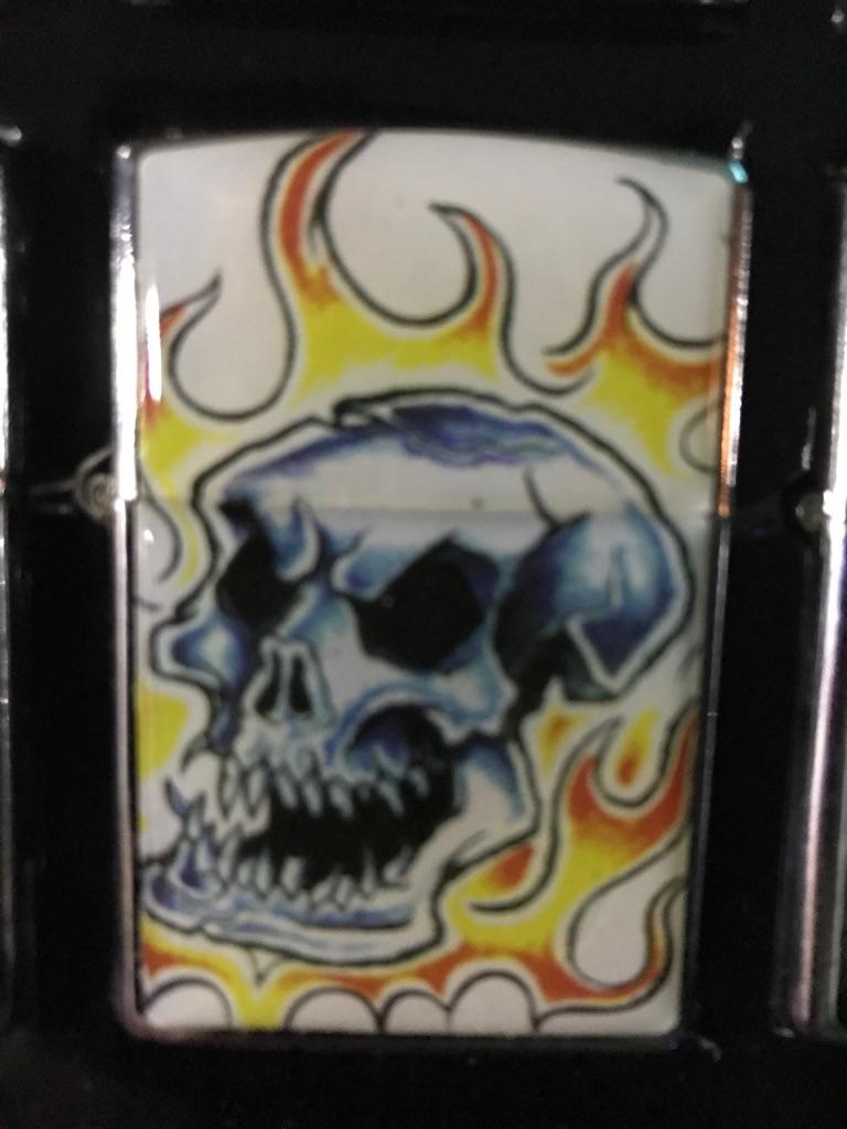 Zippo style Harley Davidson skull