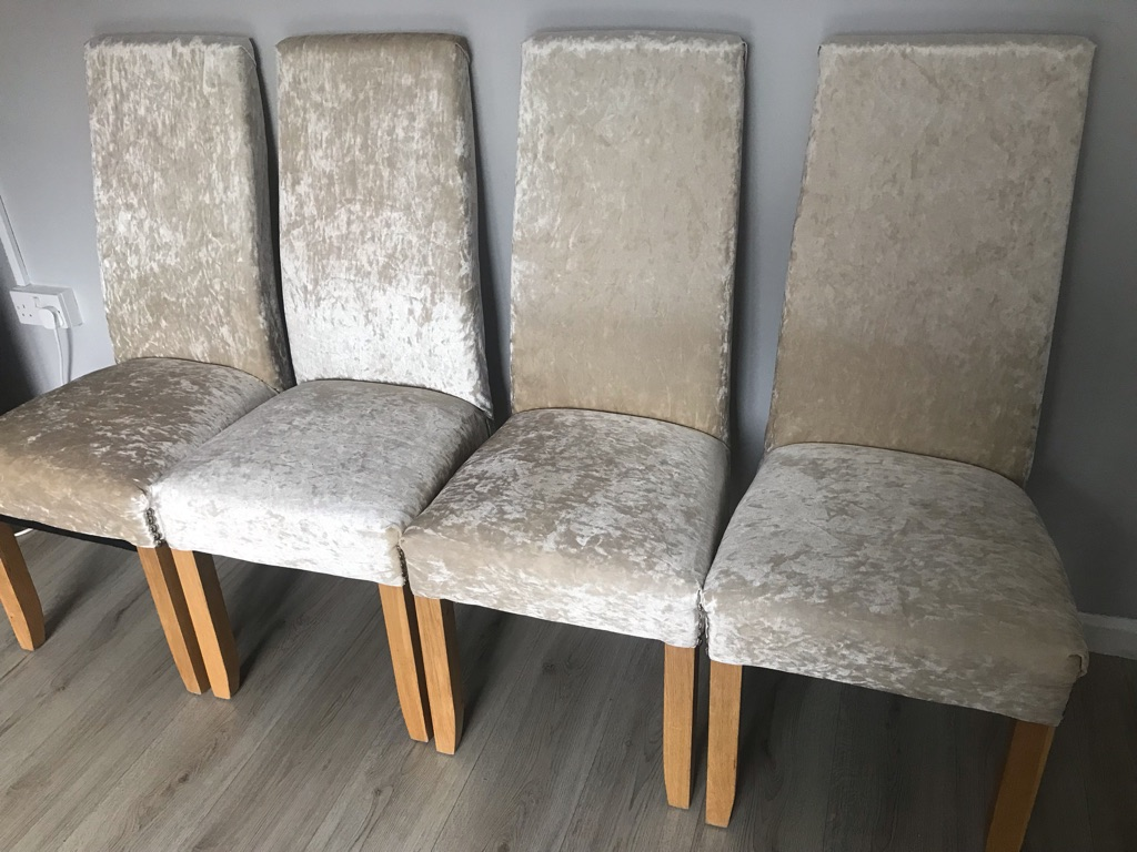 6 champagne crushed velvet chairs