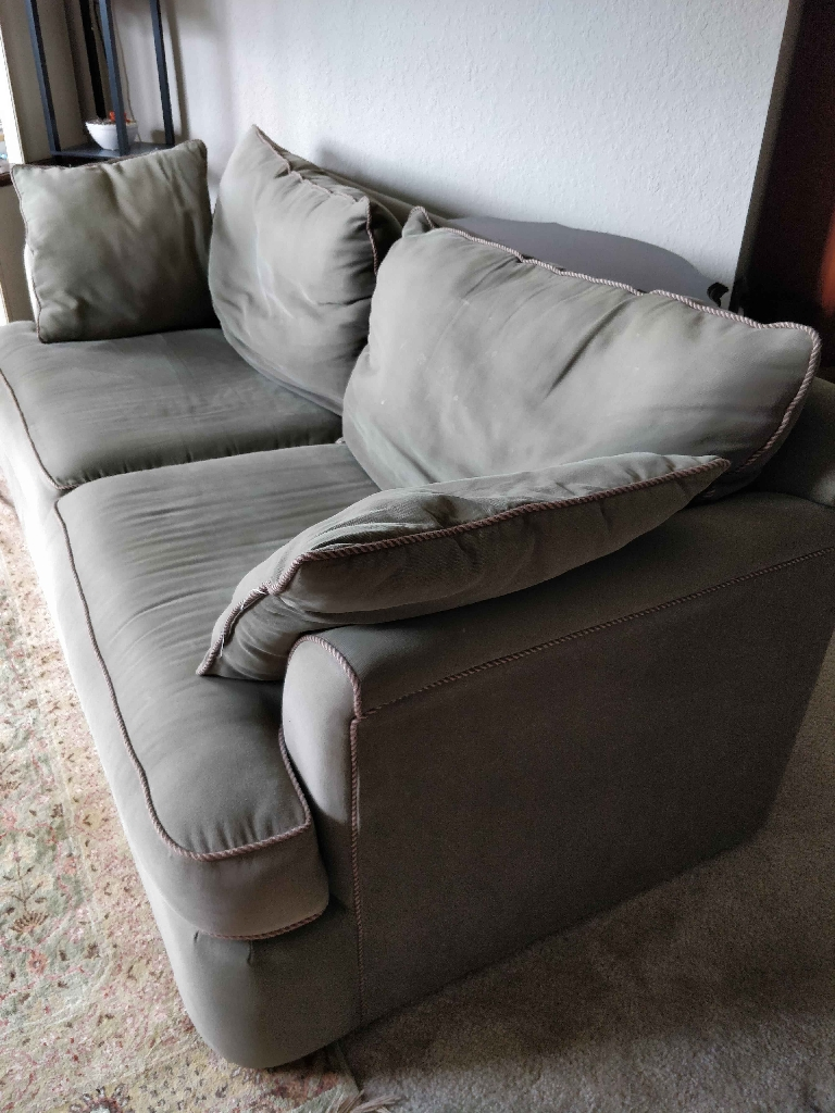 Sage green couch and chair